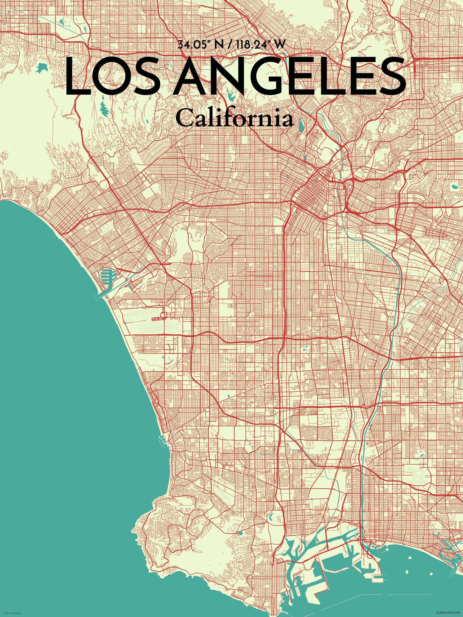 Kort Over Los Angeles Kunst Kort Over Los Angeles Californien Usa