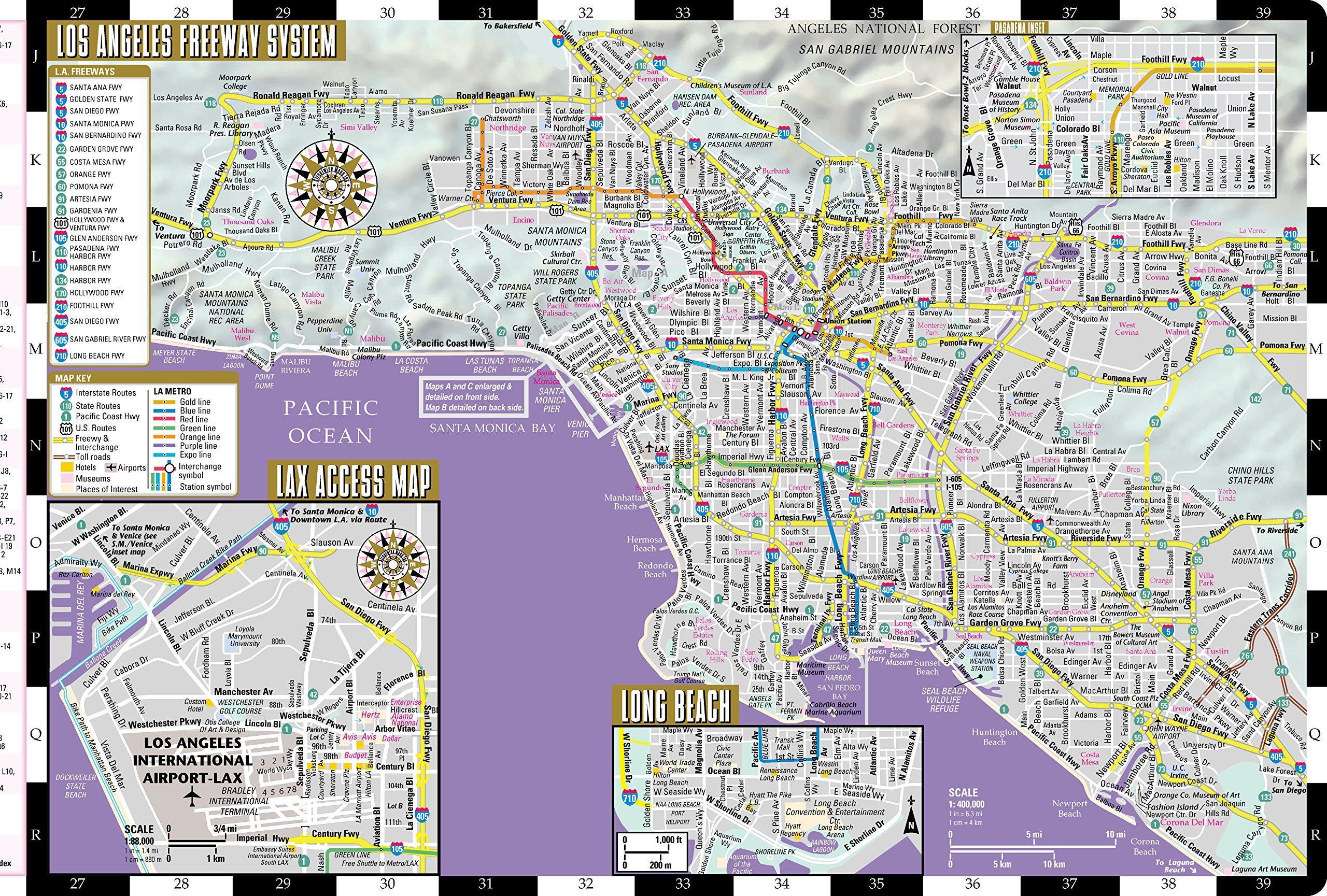 Kort Over Los Angeles Kort Over Los Angeles Californien Usa