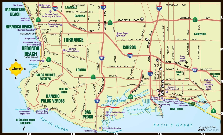 South Bay Los Angeles Kort Kort Over South Bay Los Angeles