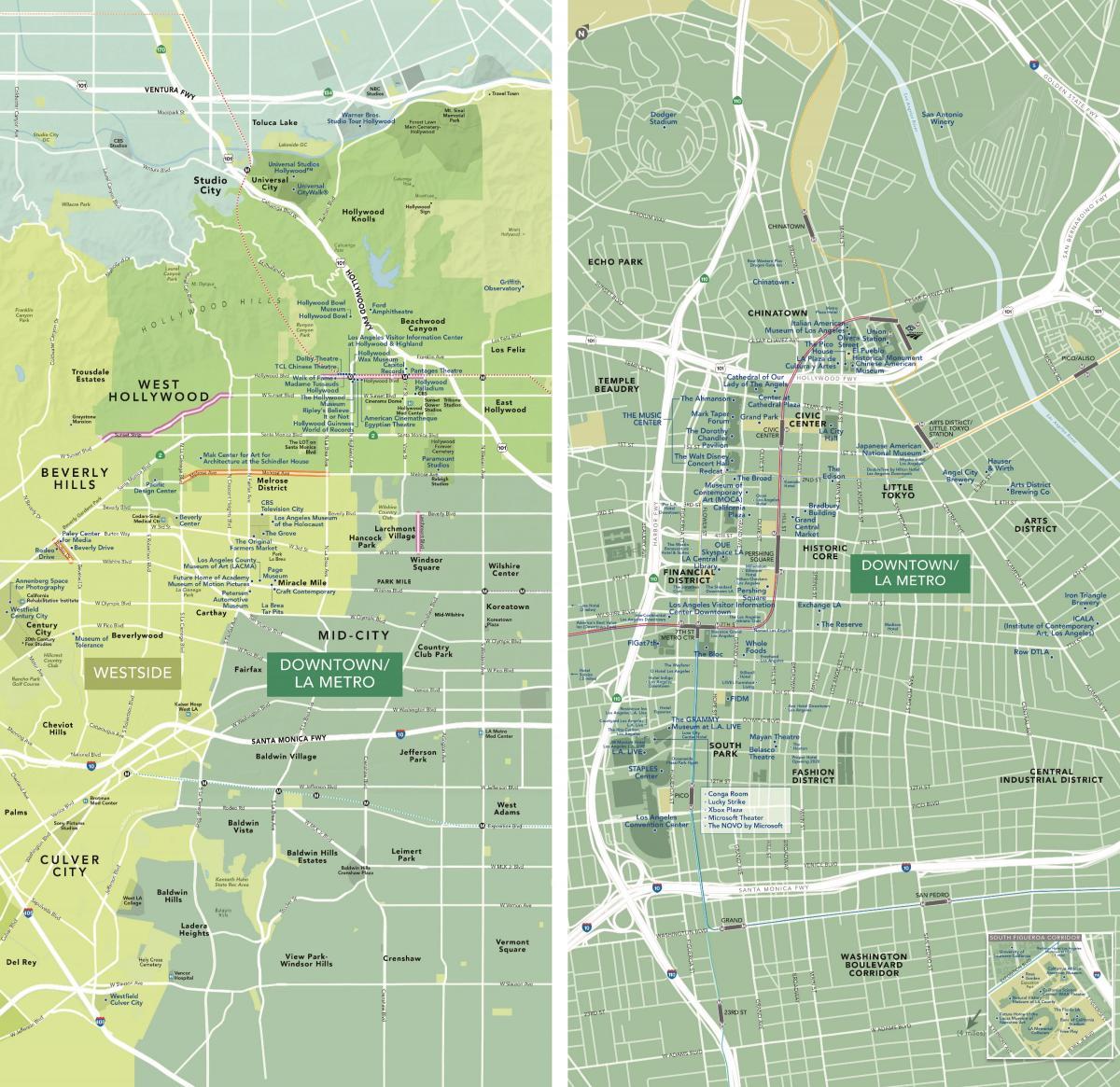 West La Map Kort Over West Los Angeles Californien Usa